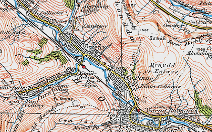 Old map of Pentre in 1923