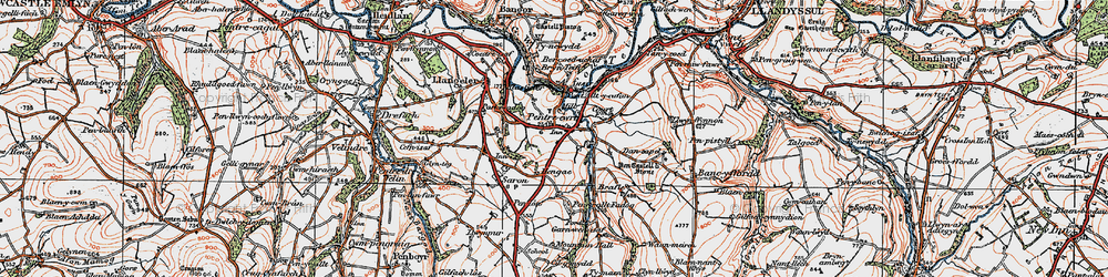 Old map of Pentre-cwrt in 1923