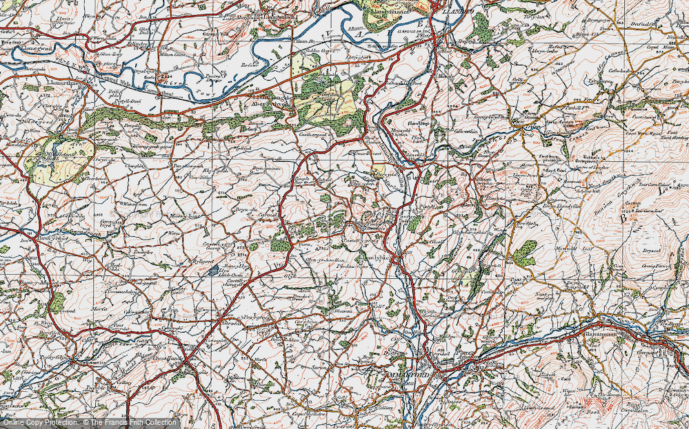 Old Map of Historic Map covering Afon Marlas in 1923