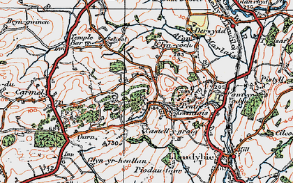 Old map of Afon Marlas in 1923
