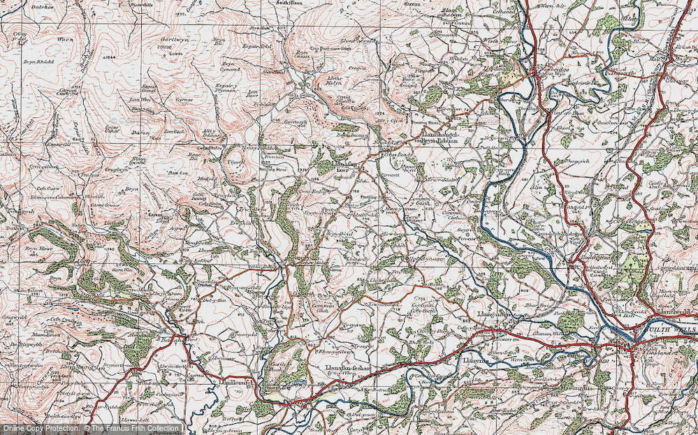 Old Map of Historic Map covering Afallenchwerw in 1923