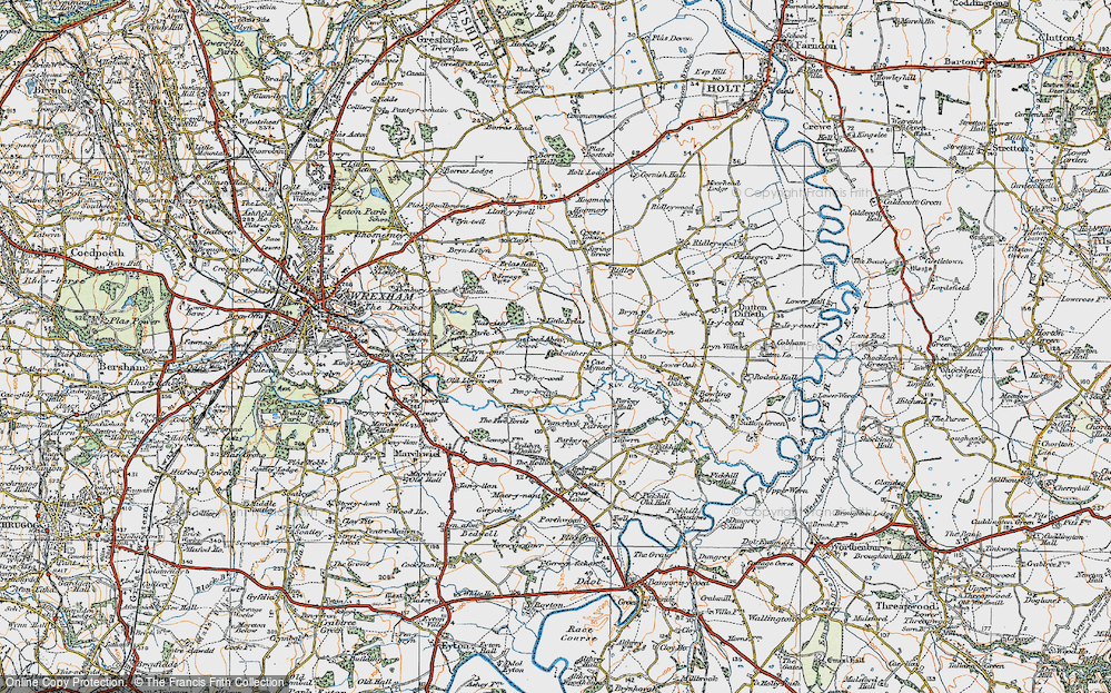Old Map of Historic Map covering Wrexham Industrial Estate in 1921