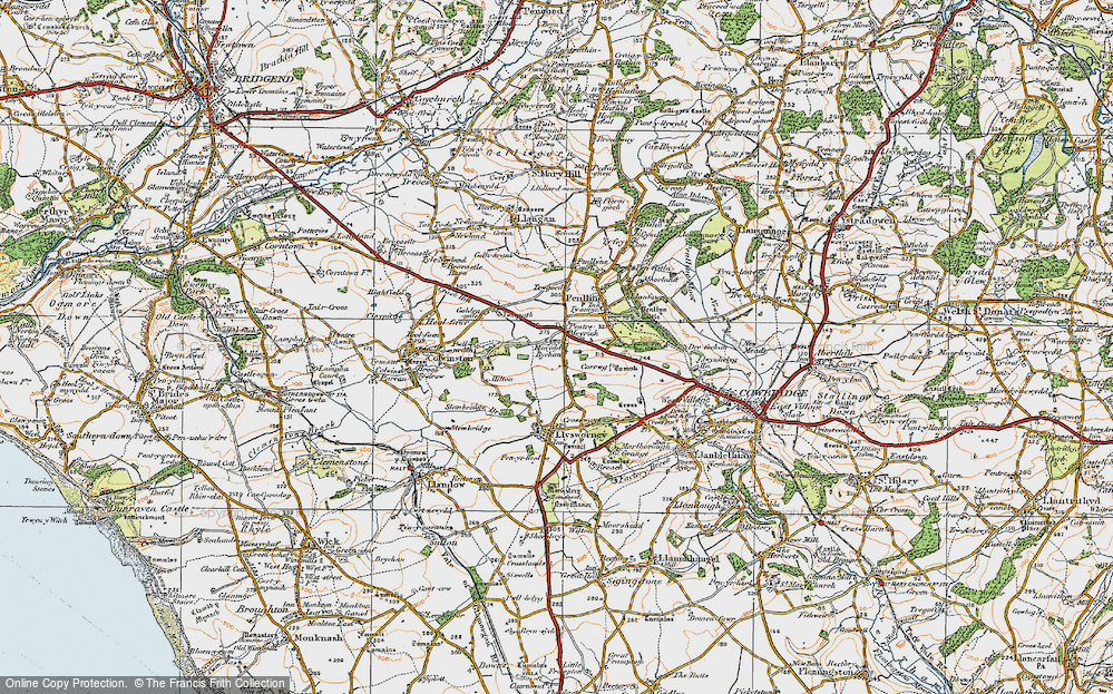Old Map of Pentre Meyrick, 1922 in 1922
