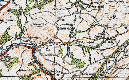 Old map of Afon Gwydderig in 1923