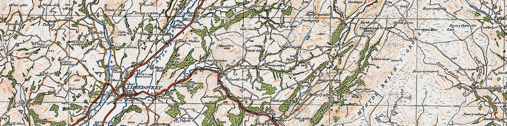 Old map of Abercrychan in 1923