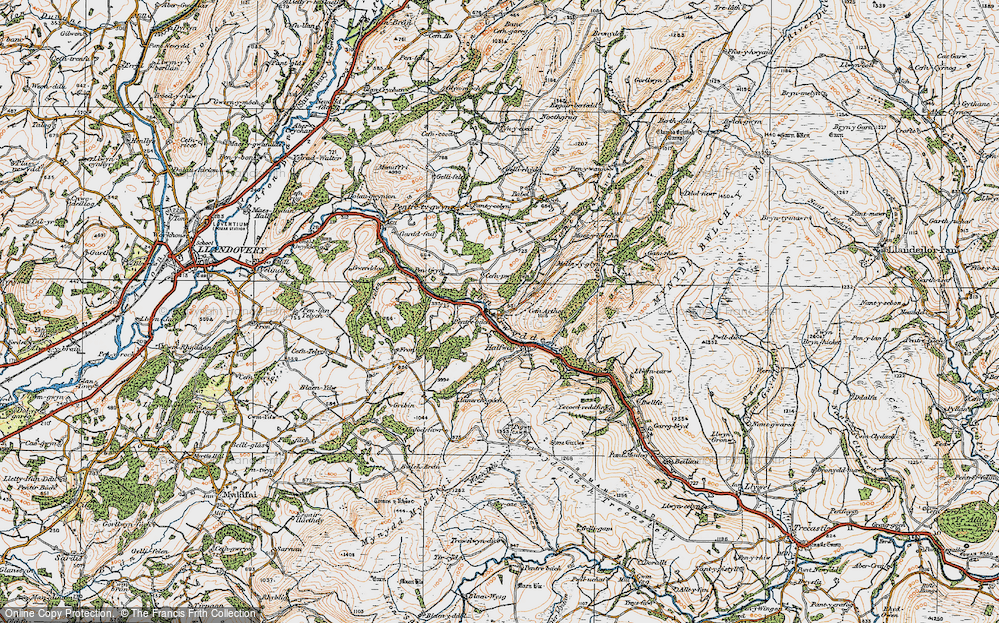 Old Map of Historic Map covering Allt y Ferdre in 1923