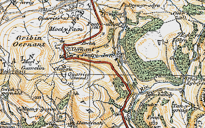 Old map of Pentredwr in 1921