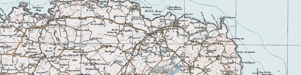 Old map of Pentrefelin in 1922