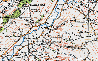 Old map of Pentrefelin in 1923