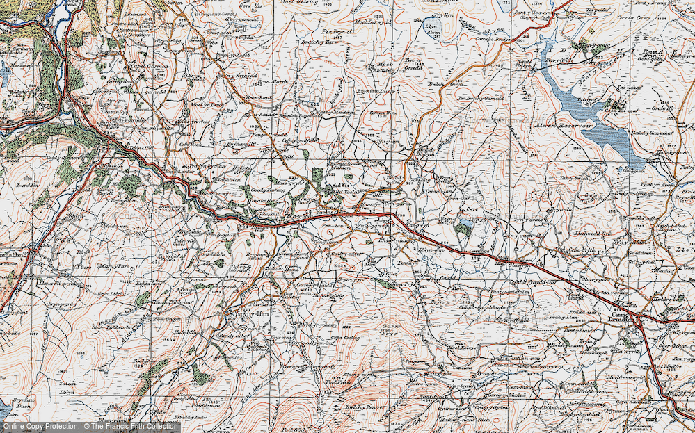 Old Map of Historic Map covering Afon Nug in 1922