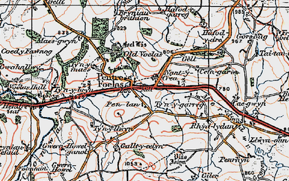 Old map of Afon Twllan in 1922