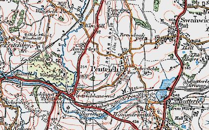 Old map of Pentrich in 1921