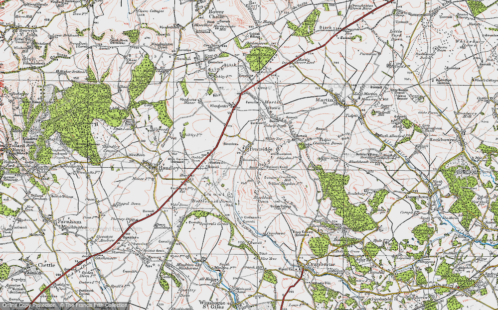 Old Map of Historic Map covering Ackling Dyke (Roman Road) in 1919