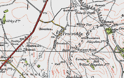 Old map of Ackling Dyke (Roman Road) in 1919