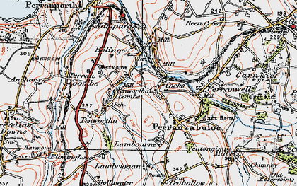 Old map of Penwartha Coombe in 1919