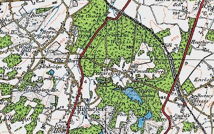 Old map of White Oak Ho in 1919