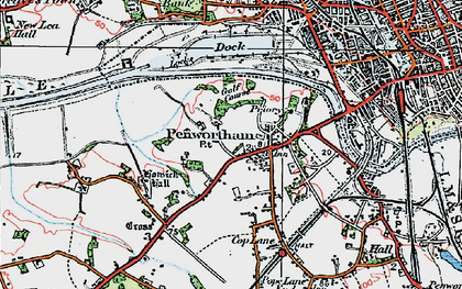 Old map of Penwortham in 1924