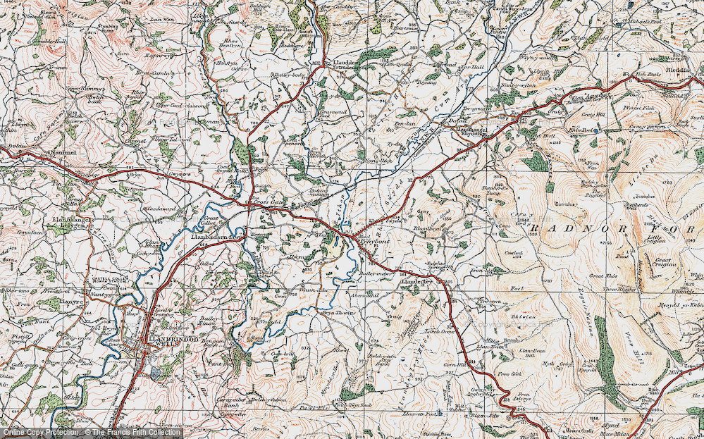 Old Map of Historic Map covering Abermithel in 1920