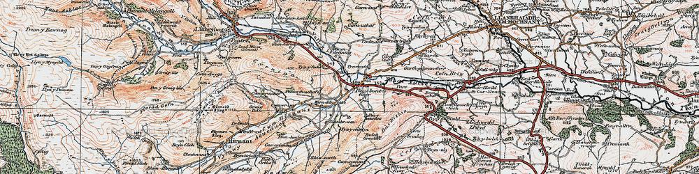 Old map of Penybontfawr in 1921