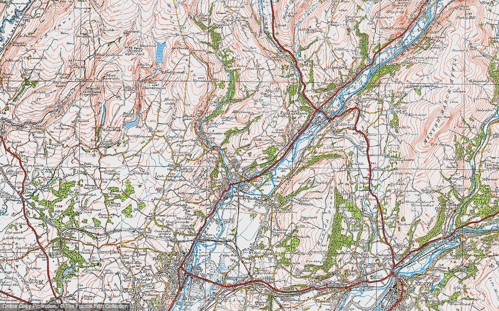 Old Map of Historic Map covering Allt-y-fanog in 1923