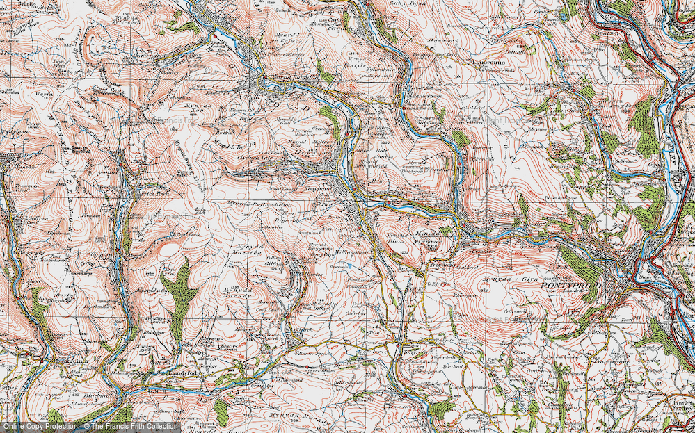 Old Map of Penygraig, 1922 in 1922