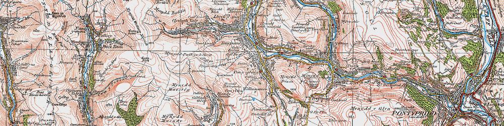 Old map of Penygraig in 1922