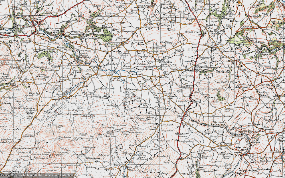 Old Map of Historic Map covering Afon Clun-maen in 1923