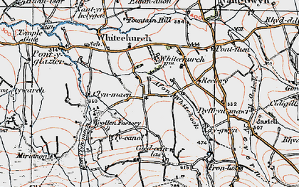 Old map of Afon Clun-maen in 1923