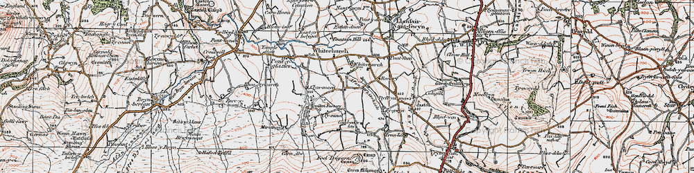 Old map of Afon Bannon in 1923