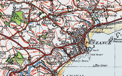 Old map of Penzance in 1919