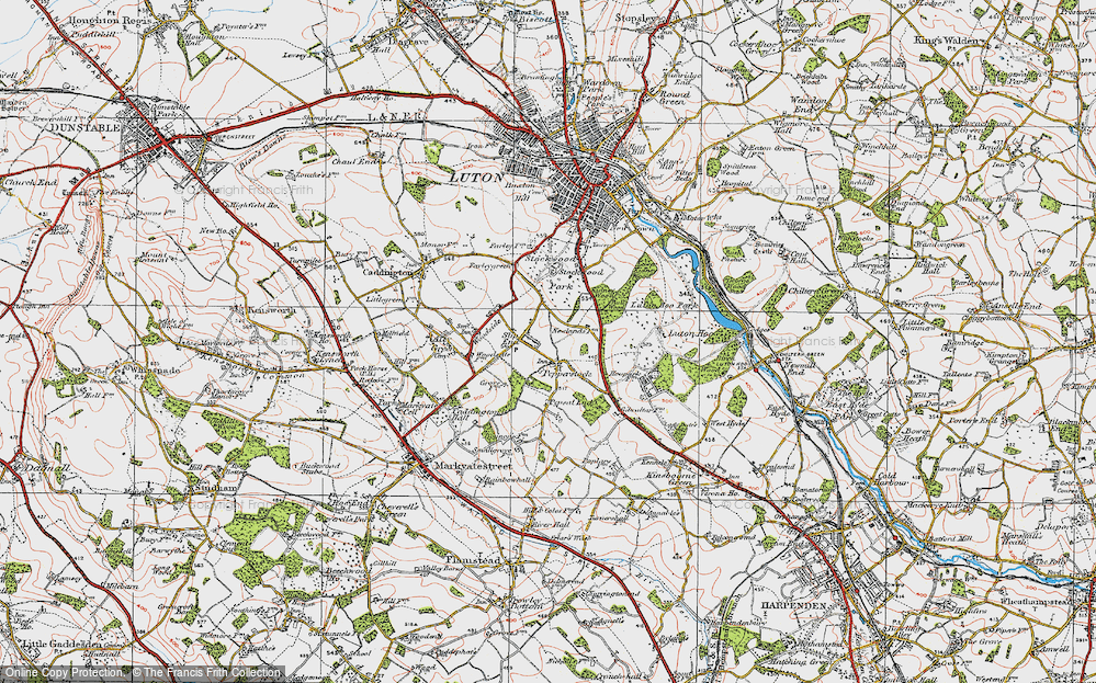 Old Map of Historic Map covering Stockwood Park in 1920