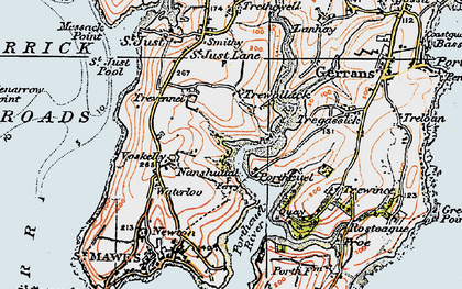 Old map of Percuil in 1919