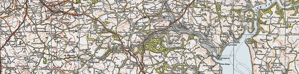 Old map of Perran Wharf in 1919