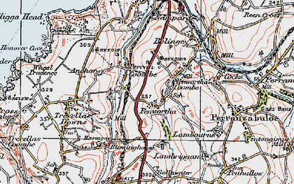 Old map of Perrancoombe in 1919