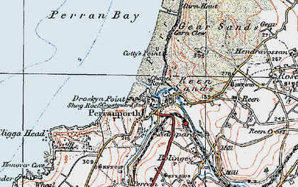 Old map of Perranporth in 1919