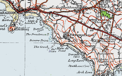 Old map of Perranuthnoe in 1919