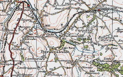 Old map of Perranzabuloe in 1919