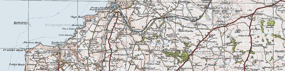Old map of Perranzabuloe in 1919