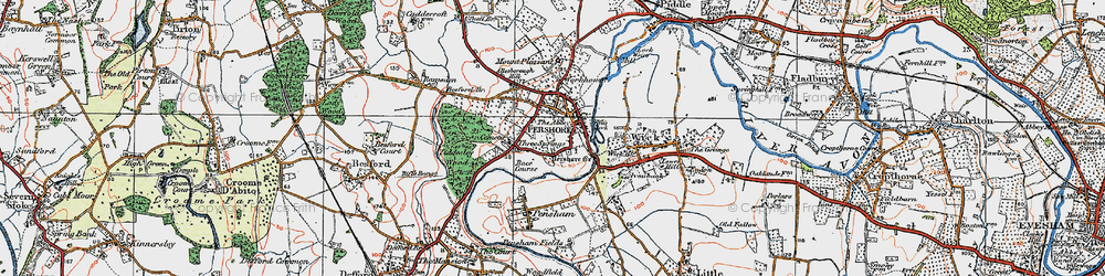 Old map of Pershore in 1919