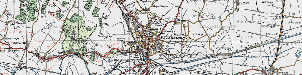 Old map of Peterborough in 1922