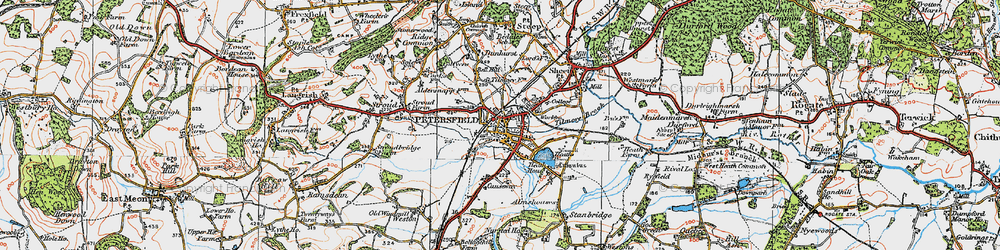 Old map of Petersfield in 1919