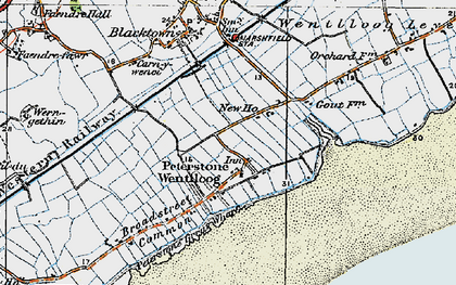 Old map of Peterstone Wentlooge in 1919