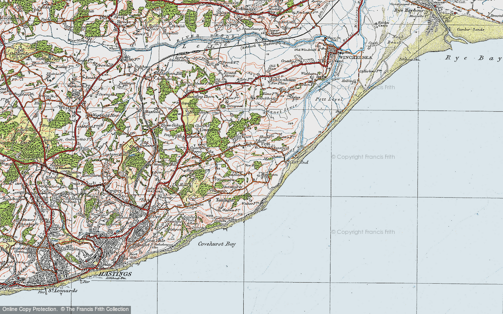 Old Map of Pett, 1921 in 1921