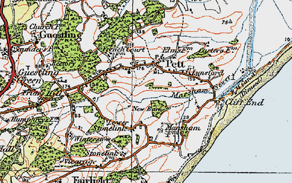 Old map of Pett in 1921