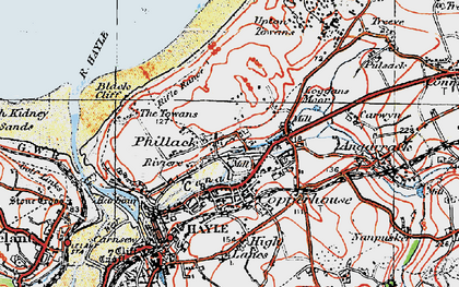 Old map of Phillack in 1919