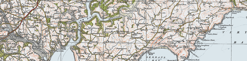 Old map of Ardevora Veor in 1919