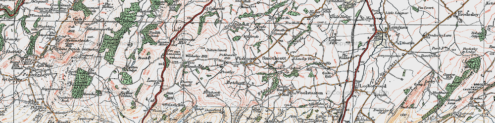 Old map of Wilderley Hill in 1921
