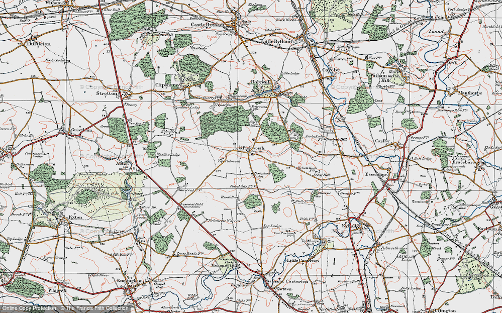 Old Map of Historic Map covering Lincolnshire Gate in 1922