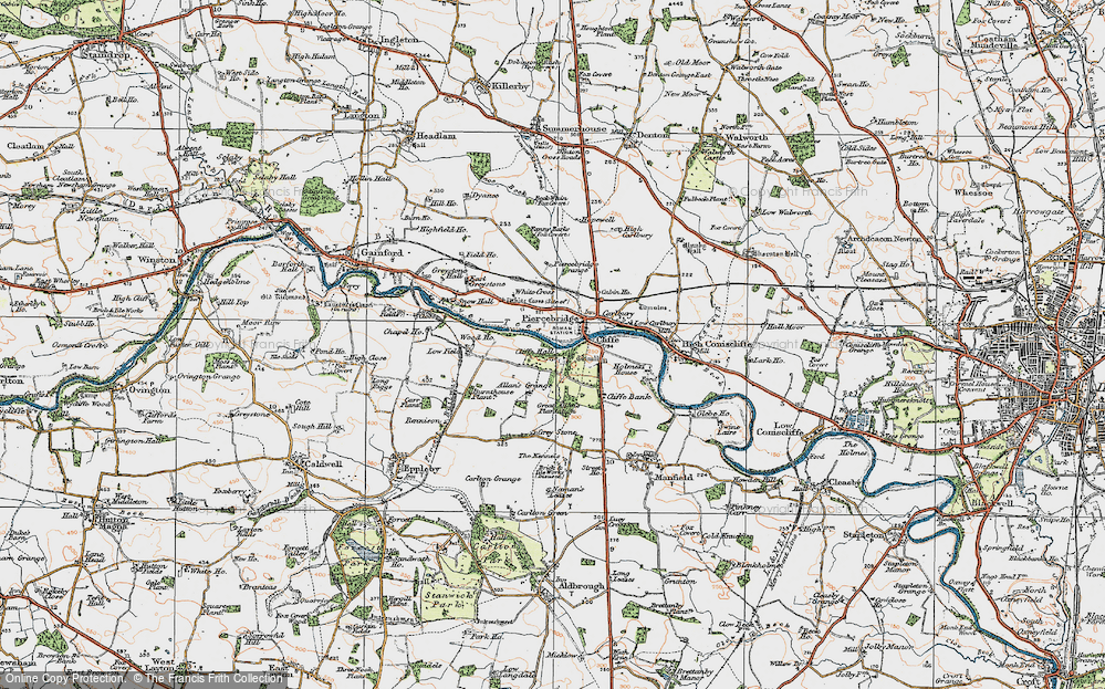 Old Map of Historic Map covering Allan's Grange in 1925