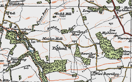 Old map of Abshields in 1925